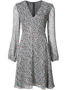 V-Neck Ruched Bodice Dress Derek Lam