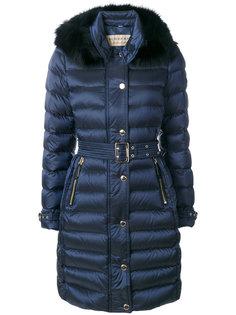 пальто-пуховик с лисьим мехом Burberry
