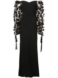 вечернее платье с заниженной линией плеч Badgley Mischka