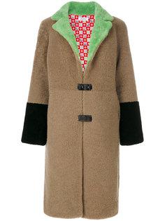 длинное пальто с контрастными манжетами Saks Potts