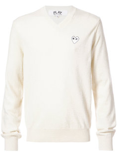 crew neck pullover with white heart Comme Des Garçons Play