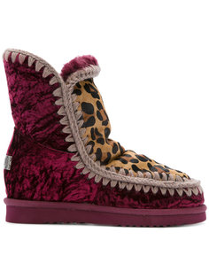 velvet and leopard print Inner Wedge boots Mou