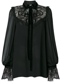 embroidered lace-insert georgette blouse Elie Saab