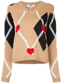 свитер с V-образным вырезом и узором в ромбы  MSGM