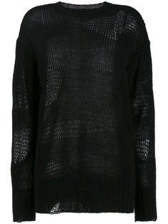 свободный свитер с прорехами  R13