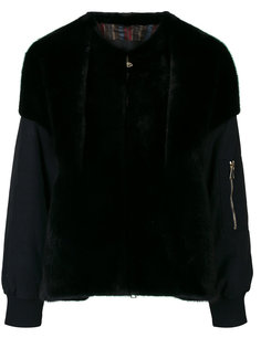 contrast material bomber jacket Blancha