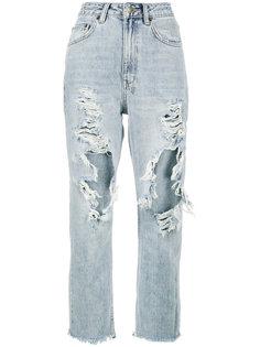 джинсы с завышенной талией и с прорехами Chio Ksubi