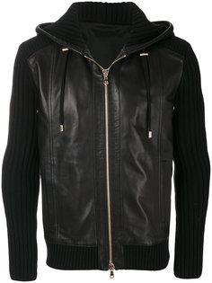 ribbed leather hoodie Balmain