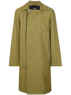 plaid button up coat Raf Simons