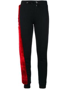 трикотажные брюки со вставкой из искусственного меха  Philipp Plein