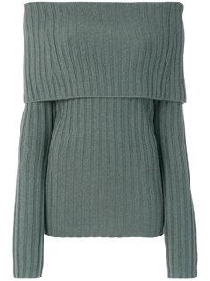пуловер с открытыми плечами и отворотом  Theory