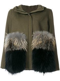 пальто с заплатками из меха енота Thistle Ava Adore