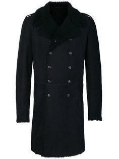 двубортное пальто с подкладкой из овчины Pierre Balmain