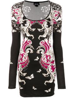 приталенное платье с принтом бабочек Just Cavalli