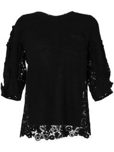свитер в рубчик с кружевной вставкой  Sacai