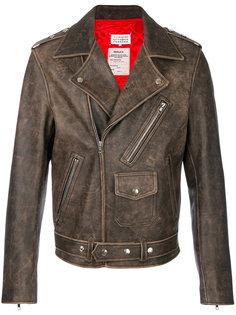 байкерская куртка с потертой отделкой Maison Margiela
