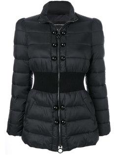 дутая куртка с поясом в рубчик  Emporio Armani