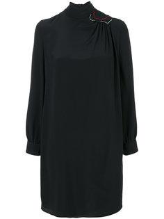 платье с высокой горловиной и нашивкой на плече Emporio Armani