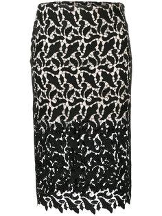 полупрозрачная кружевная юбка-карандаш  Emporio Armani