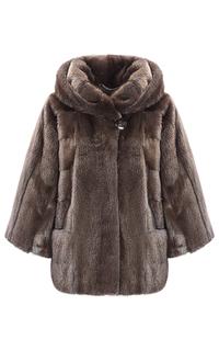 Короткая норковая шуба из аукционного меха SAGA furs с капюшоном Fellicci