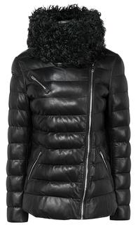 Зимняя кожаная куртка с отделкой мехом козлика La Reine Blanche
