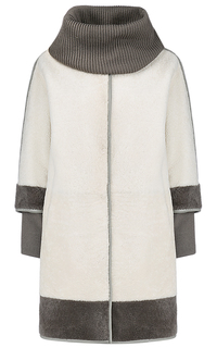 Пальто из овчины со съемными трикотажными деталями Virtuale Fur Collection
