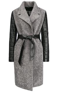 Утепленное пальто из вязаной овчины и натуральной кожи Virtuale Fur Collection