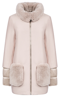 Утепленное пальто с отделкой мехом кролика La Reine Blanche