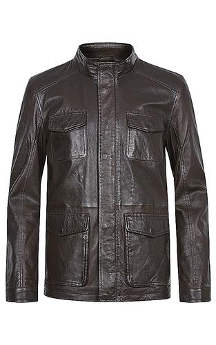 Утепленная кожаная куртка на молнии