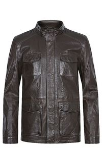 Утепленная кожаная куртка на молнии Urban Fashion for men