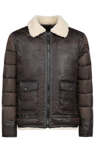 Утепленная комбинированная куртка с отделкой искусственным мехом