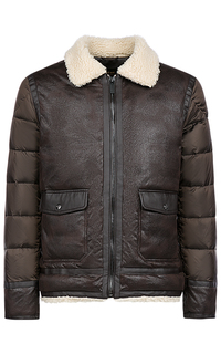 Утепленная комбинированная куртка с отделкой искусственным мехом Urban Fashion for men