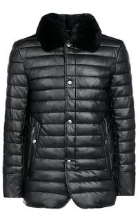 Куртка из экокожи с отделкой мехом кролика Al Franco