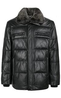 утепленная кожаная куртка с отделкой мехом кролика Jorg Weber
