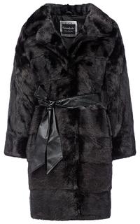 Пальто из меха норки с поясом из экокожи Flaumfeder