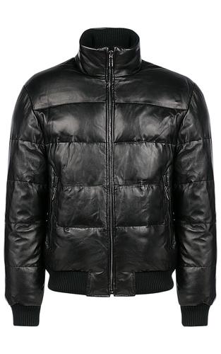 Кожаная куртка-бомбер на искусственном пуху