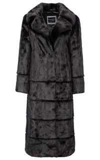 Норковое пальто с поясом из экокожи Flaumfeder
