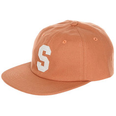 Бейсболка с прямым козырьком Stussy Felt S Canvas Strapback Cap Orange