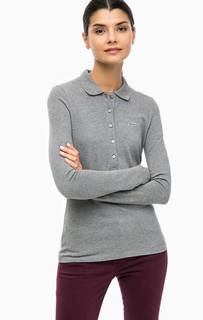 Серая хлопковая футболка поло с длинными рукавами Lacoste