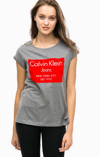 Серая футболка с ярким принтом Calvin Klein Jeans