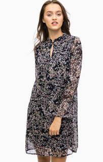 Синее легкое платье с длинными рукавами More & More