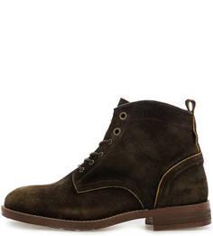 Замшевые ботинки цвета хаки на шнуровке Nobrand