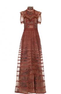 Шелковое платье с оборками и воротником-стойкой Valentino