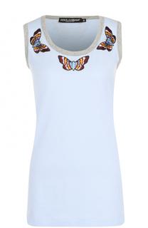 Топ с вышивкой в виде бабочек Dolce & Gabbana