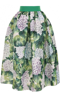 Шелковая юбка с цветочным принтом и широким поясом Dolce & Gabbana
