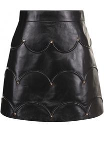 Кожаная мини-юбка с фактурной отделкой Valentino