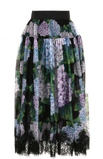 Шелковая юбка-миди с цветочным принтом Dolce & Gabbana