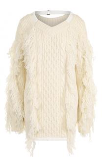 Шерстяной пуловер в полоску с V-образным вырезом Sacai