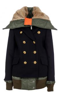 Двубортная утепленная куртка с капюшоном Sacai