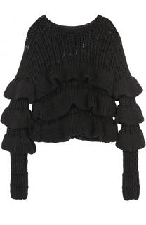 Пуловер фактурной вязки с оборками Tom Ford